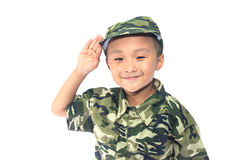 Little boy with Soldier suit Stock Images