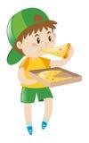 Little Boy som äter pizza vektor illustrationer