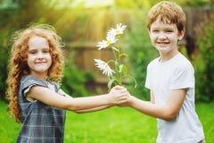 Little Boy som ger blommor till vänflickan Royaltyfri Bild