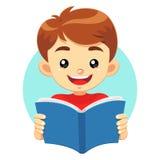 Little Boy som läser en blå bok Vektor Illustrationer