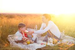 Little boy son and his pregnant mother on a picnic on a beautiful autumn or summer day. Happy family and healthy eating concept Royalty Free Stock Photos