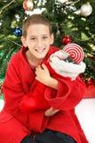Little Boy sotto l'albero di Natale con la calza fotografia stock libera da diritti