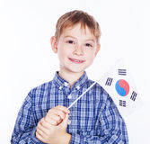 A little boy with south koreanian flag Royalty Free Stock Photo