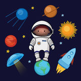 Little boy spaceman in space, rocket satellite UFO planets stars Stock Images