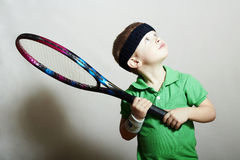 Little Boy.Sport children.Child with Tennis Racket Stock Photography