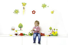 Little boy in spring arrangement Stock Photography