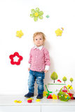 Little boy in spring arrangement Royalty Free Stock Images