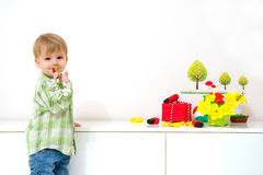 Little boy spring arrangement  Stock Photos