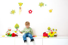 Little boy spring arrangement Royalty Free Stock Image