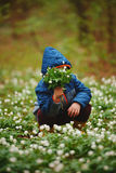Little boy in spring forest with many flowers Stock Image