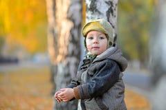 Little boy standing near the tree in autumn Stock Photos