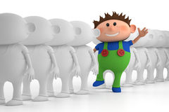 Little Boy Standing Out From Stock Photo