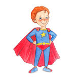 Little boy is standing in a proud pose and wearing a superhero costume stock illustration