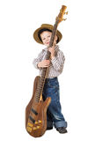 Little boy standing with rock guitar Royalty Free Stock Image