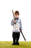 Little boy standing with a sword Royalty Free Stock Image