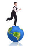 Little boy stands on the big earth. Stock Photography
