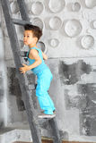 A little boy stands on ladder. A little boy stands on a wooden ladder Royalty Free Stock Images