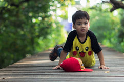 A little boy stay alone. Portraits children stay alone into the wild Stock Photography