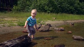 Little boy steps on the water of a forest lake on a sunny summer day stock video footage