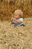 Little boy in straw Royalty Free Stock Images