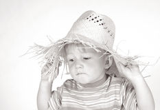 Little boy with straw hat III Royalty Free Stock Photo