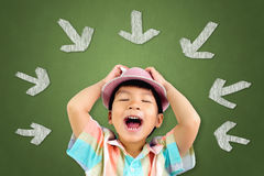 Little boy stress out screaming Stock Image
