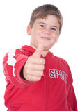 Little boy stretches a finger. On a white background Stock Photo