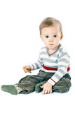 Little boy in strip pullover. Little baby boy in strip pullover on white background Royalty Free Stock Photography