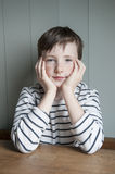 Little boy in striped shirt Stock Photo