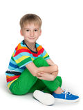 Little boy in the striped shirt Stock Photography
