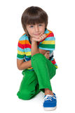 Little boy in the striped shirt Royalty Free Stock Images