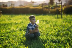 Little boy in a striped T-shirt blowing a dandelion.Spring, sunny weather.  royalty free stock image