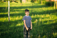A little boy in a striped T-shirt is playing on the playground, Swing on a swing.Spring, sunny weather. Stock Photo