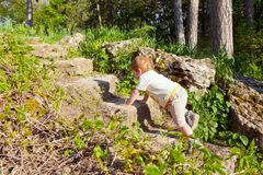 Little boy stubbornly climbs the stone steps.  Royalty Free Stock Photography