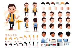 Little Boy-Student Character Creation Kit Template mit verschiedenen Gesichtsausdrücken Stockfoto