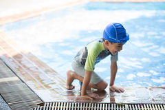 Little boy study in  swimming class with teacher Stock Photography