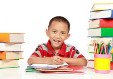 Little boy studying Royalty Free Stock Images