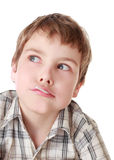 Little boy sucks lollipop isolated Stock Photos