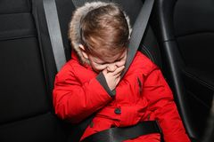 Little boy suffering from nausea stock images