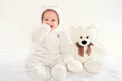 The little boy in a suit of a bear cub Stock Photography