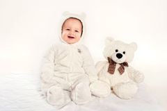 The little boy in a suit of a bear cub Stock Images
