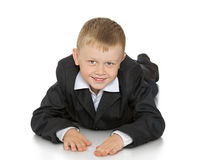 Little boy in a suit royalty free stock image