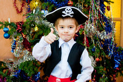 Little boy in the suit of pirate Stock Image