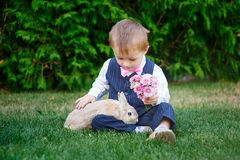 Little boy in a suit playing in the park with a rabbit Royalty Free Stock Photography
