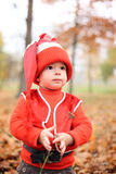 Little boy in a suit with a pumpkin gnome in autumn park Royalty Free Stock Photography
