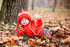 Little boy in a suit with a pumpkin gnome in autumn park Royalty Free Stock Photos