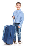 Little boy with suitcase Stock Photography