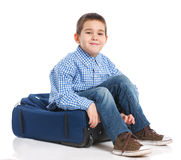 Little boy with suitcase Royalty Free Stock Images