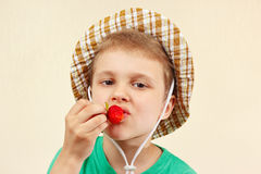 Little boy in the summer hat eating fresh strawberry Stock Photos