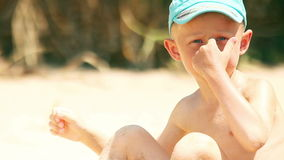 Little boy sunny beach portrait Royalty Free Stock Photo